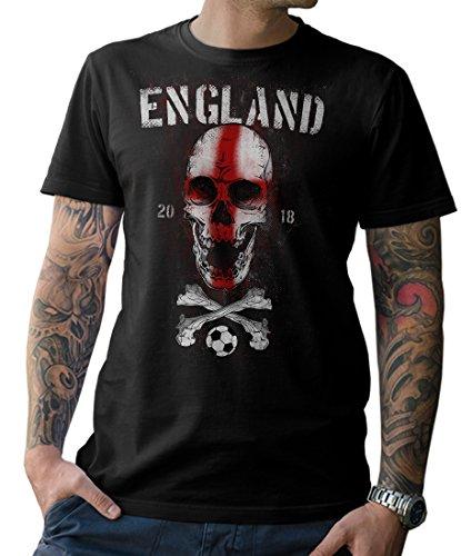 NG articlezz T-Shirt Herren - England Skull Fußball - WM 2018 Soccer Fussball Totenkopf Gr. S-5XL