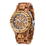 Orologio analogico al quarzo di legno, MUJUZE Orologio vintage leggero da uomo (Zebra)