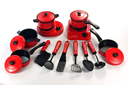 Askdasu Red Tableware Cookware Toy 13 Piece Set Simulation Kitchen Kids Pretend Play Educational Toys