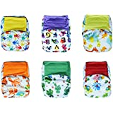 Hook-and-Loop Charcoal Bamboo All-in-one AIO Cloth Diapers W/ Pocket