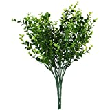 2 x Artificial Plastic Plant Eucalyptus Grass 7 Branches for Home Wedding Decoration Green---Small Leaves