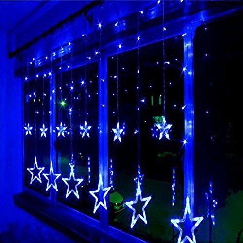 Locisne 138 LED Linkable 12pcs étoiles 1m * 2m Rideau de lumière Lumières fenêtre avec 8 modes pour Noël Intérieur / Extérieur Projecteur Paysage Lampe de vacances du Nouvel An de mariage d'arbre de Noël Jardin Patio Stade Maison Décoration (bleu)