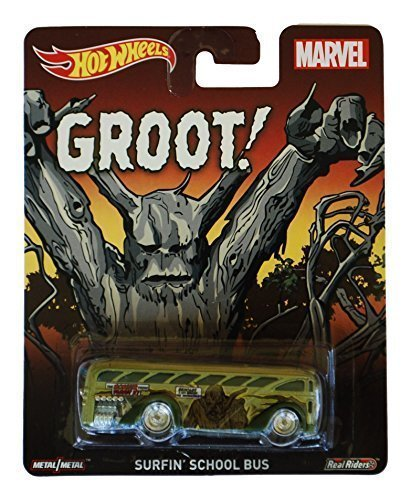 2015 HOT WHEELS POP CULTURE MARVEL GROOT SURFIN' SCHOOL BUS by Hot Wheels