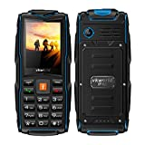 【2017 New Version】VKWorld Stone V3 Outdoor Mobile Phone with Big Button IP68 Waterproof Shockproof Dustproof LED Flashlight Triple Sim Triple Standly 2G Unlocked Cell phone for the Elderly/Military(2MP Camera 64MB+64MB FM Radio Box Speaker 3000mAh battery)-Blue