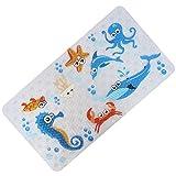 FEIDOL Baby Badteppich mit Saugnäpfe für Badewanne, rutschfest, Kinder Badewannen-Matte, 28x 15cm hübsch Muster Design, Schimmel resistent, PVC (Meer)