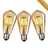 Vintage Edison LED Glühbirne, Elfeland 3X E27 Antike LED Filament Lampe Ersetzt 60W (6W, 2200K, Dimmbar, Beliebtstes Modell ST64) Ideal für Nostalgie und Retro Beleuchtung