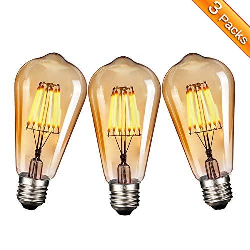 Ampoule E27 Vintage, Elfeland 6W Edison Ampoule LED Antique Filament Ambre Verre 2200K 600LM Dimmable Lumière Blanc Chaud Parfait pour Nostalgie et L'éclairage Rétro Modèle ST64-3 Packs