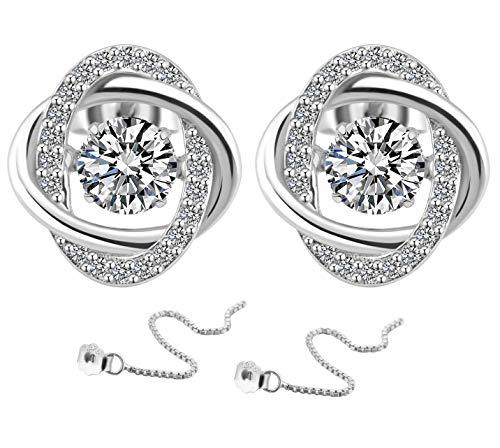 KIPONE Damen Ohrringe 925 Sterling Silber Set Diamanten Ohrstecker Mit Geschenkbox EDXZ015