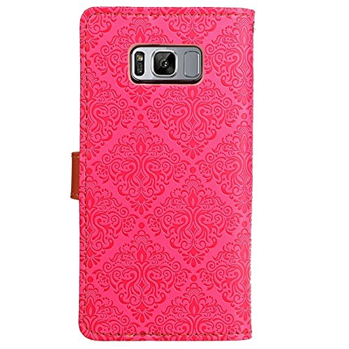 YHUISEN Galaxy S8 Plus Case, Magnetverschluss European Style Wandgemälde prägeartig PU Leder Flip Wallet Case mit Stand und Card Slot für Samsung Galaxy S8 Plus ( Color : Gray ) Rose