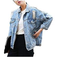 Cystyle Damen Löcher Jeansjacke Übergangsjacke Jacke Denim Casual mit Perle ceb24a67f7