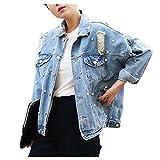 Cystyle Damen Löcher Jeansjacke Übergangsjacke Jacke Denim Casual mit Perle (EU M=Asia L)
