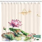 CDHBH asiatischen Dekor Vorhang für die Dusche Chinesischer Stil colorwater Lotus Domestic oder Hotel Badezimmer Polyester-Schimmelresistent-Wasserdicht Duschvorhang Set mit Haken 180,3x 180,3cm