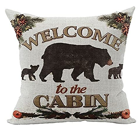 Retro Vintage Background Wildlife Black Bear Family Welcome To The Cabin Cotton Linen Throw Pillowcase Personalized Cushion Cover NEW Home Office Decorative Square 18 X 18