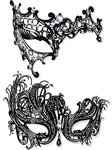 Lvcky 2Stück Metall Masquerade Maske Damen Glänzend Strass Augenmaske für Karneval Party Ball Ball Fancy ()