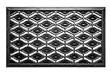 FabaHome Fußmatte Türmatte mit Gummistiften, Stift Schmutzfangmatte Gummi Schmutzmatte, sehr robust, edles Design, wetterfest, Schuhabtreter 75 x 45 cm, Schwarz