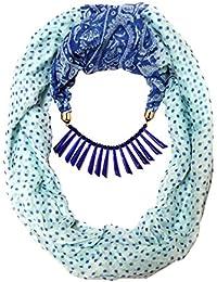 Scarf Necklace Chooz Designer Studio Printed Blue Scarf California Necklace Scarf Pendant Scarf Stole Wrap Muffler...