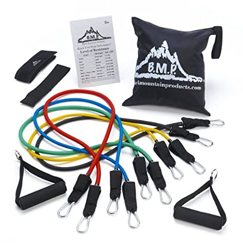 Black Mountain Unisex Resistance Band Set with Door Anchor/Ankle Strap/Exercise Chart and Carrying Case, Multi-Colour