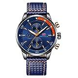 Relojes para Hombres, Mini Focus Analógico de Cuarzo Reloj Impermeable Deportivo cronógrafo Correa de Cuero Fecha para Regalo (Azul)