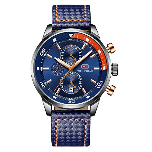 Herren Uhren Militär Wasserdicht Edelstahl Mesh Armband Mode Chronographen Mann Sport Analog Datum Kalender Quartz Armbanduhr(Lederarmband/Kautschukband) (Blau 2)