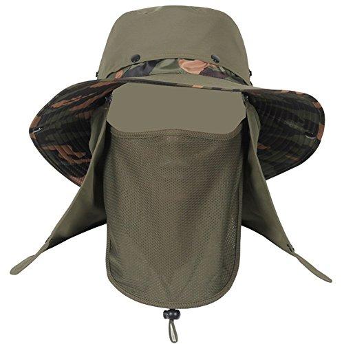 Kappe Sonnenhüte Männer Abnehmbarer Hut Top Wind Rope Sonnenschutz Staubdicht Anti-Moskito, 4 Farben Optional Sonnenhut (Farbe: Armee-Grün) - Top Hüte Männer