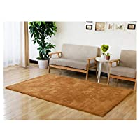 Rug Soft Rugs Living Room Polyester Household Thickening Carpet Nordic Living Room Bedroom Foyer Kitchen Stairs Soft Touch Shaggy (Color : Brown, Size : 140X200CM)