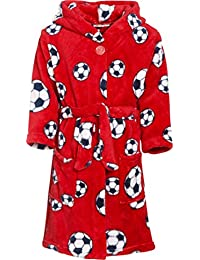 Playshoes Fleece-Bademantel FuBall Bata Rot 8 4 años (104 cm) para Niños