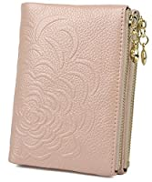 Yaluxe Women's Flower Embossed Compact Leather Wallet Button Folding Small Purse with Two Side Zipped Pockets (Pearly Pink)