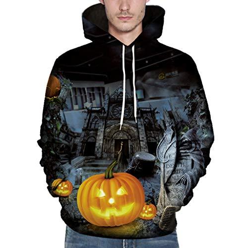 VBWER Herren Slim Fit Hoodie Long Sleeve Kapuzenpullover 3D Druck Muster Sweatshirt Pullover Kapuzenpulli Freizeit Mantel