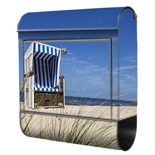 Briefkasten bunt Edelstahl Zeitungsfach motivX Kombi Wandbriefkasten mit Motiv Strandkorb am Meer