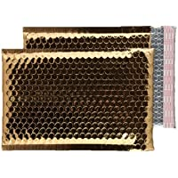 Purely Packaging - Sobre acolchado C5+ (100 unidades, 250 x 180 mm, cierre autoadhesivo), color dorado