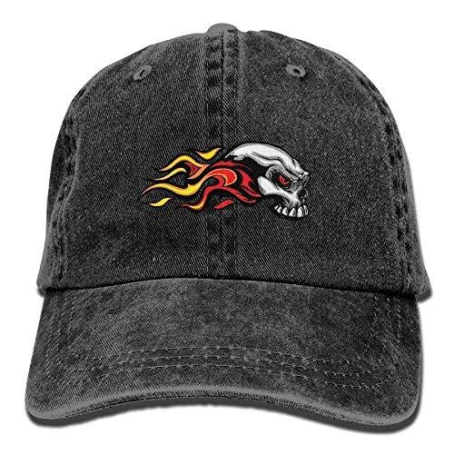 Hoswee Unisex Kappe/Baseballkappe, Cowboy Baseball Cap Men&Women Dad Style Hat Cool Fire Flame Skull -