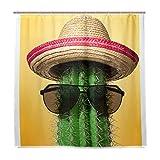 Stoff Badezimmer Duschvorhang Kaktus, wasserdicht und schimmelresistent, Polyester Stoff mit 12 Kunststoffhaken, 180 x 180 cm (72 x 72 Zoll)