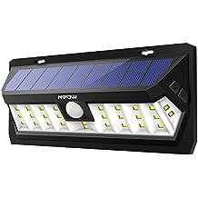 Mpow 30 LED Sensor Solar de Movimiento 2 Modos de Iluminación Opcionales, Panel Solar de Alto Rendimiento, Ángulo de Sensibilidad de 120 Grados, Ajustable del Sensor, Gran Luz al Aire Libre