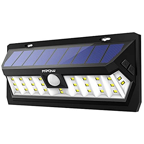 Mpow 30 LED Motion Sensor Solar Light, Bright Wall Light, 2 Optional Lighting Modes, High-efficient Solar Panel, 120 Degree Sensing Angle, IP65 Waterproof, Adjustable Sensor Lighting Time, Great Outdoor Light for Garden, Driveway, Yard, Garage, Wall, Pathway and Patio