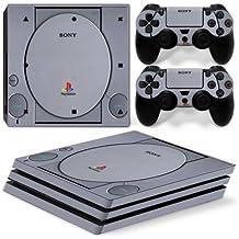 skins4u ® Films protecteur haut de gamme autocollant en vinyle pour Sony Playstation 4Pro Skin de différents designs + 2 stickers pour manettes de PS4, Retro PSOne Look