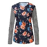 KUDICO Damen Tops Shirt Pullover Langarm-Streifen-Druck-Patchwork-beiläufiges T-Shirt(Hot Pink, EU-38/CN-L)