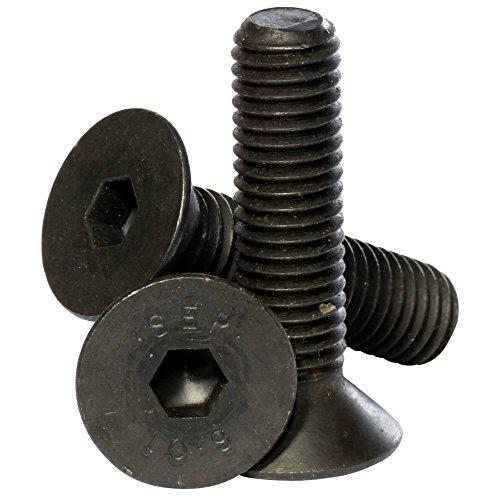 Bolt Base - Senkkopfschraube mit Innensechskant Hochfest 10.9 - Schwarz (Materialfarbe) - 6mm / M6 x 12 mm - DIN 7991-100 Stück (Bolt M6 12)