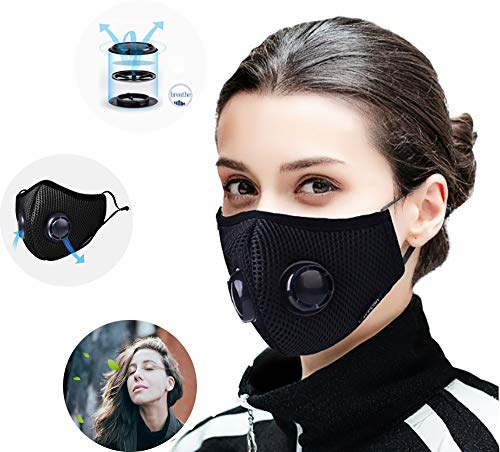 Anti-pollution Mask Dust Mask New Upgraded Activated Carbon Filter Dual Breathing Valve Effectively Filters Out 98% of Dust Smoke Particle Support All Outdoor Activities Replaceable ()