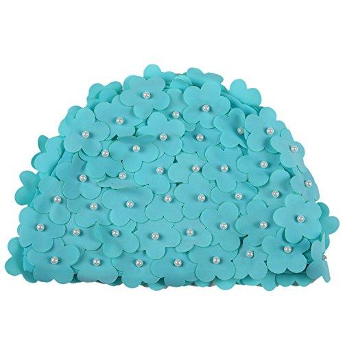 Moresave mujeres sombrero de natación de la mano artificial perla flor pétalos de gorro de baño Piscina Swim Sombrero, Mujer, azul claro