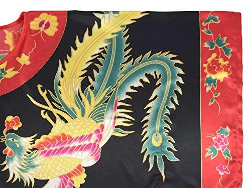 Kimono femme robe d'hôtesse - robe de chambre style boubou satiné Noir et rouge