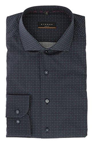 ETERNA long sleeve Shirt SLIM FIT Poplin printed Blu marino
