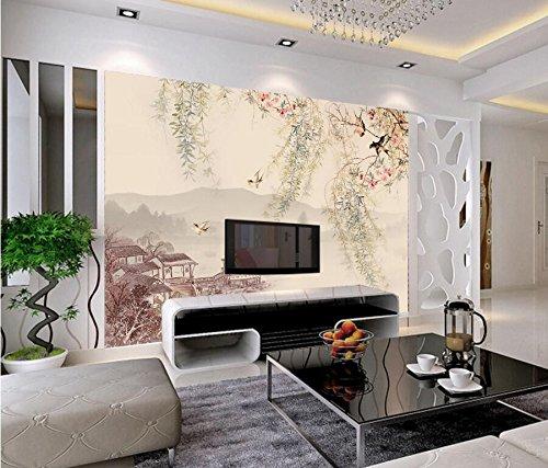 Yosot Custom 3D Wandbild Willow Tree Die Traditionelle Chinesische Malerei Tapete Schluckt Wohnzimmer Fernseher Sofa Wand Schlafzimmer-300Cmx210Cm
