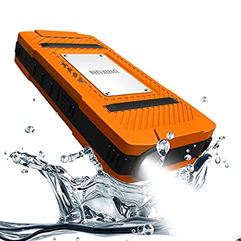 UNIFUN10400mAh Waterproof Portable Charger Dustproof Shockproof Power Bank with LED Flashlight for iPhone 6s 6 Plus iPad Samsung Galaxy S7 S6 Edge and