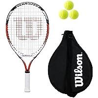 """Wilson Steam Rojo 19,21,23 Raqueta De Tenis Junior + 3 Pelotas De Tenis - 19"""""""