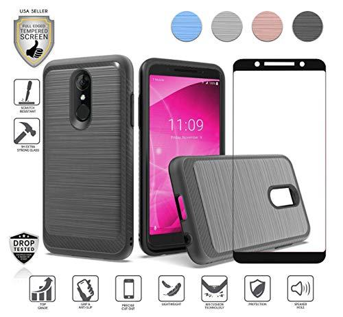 Schutzhülle für T-Mobile Alcatel Revvl 2 (14 cm / 5,5 Zoll), Alcatel 3 mit Displayschutz aus gehärtetem Glas, stoßfest, Carbon gebürstet, schwarz T-mobile Carbon