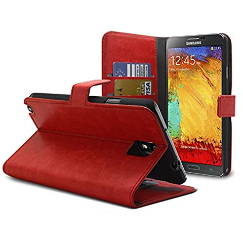 Caseink - Coque Housse Etui Smart Cover Samsung Galaxy Note 3 Neo / Lite Cuirette Retro Rouge