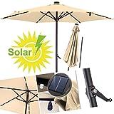 KESSER Sonnenschirm ✔ Alu ✔ LED ✔ Solar✔ Ø 270cm ✔ Kurbelsonnenschirm Gartenschirm Ampelschirm 2,7m ✔ An-/Aus- Druckknopfschalter ✔wasserabweisende Bespannung - Sonnenschirm Schirm Gartenschirm Marktschirm Beige