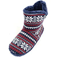 SNUGRUGS Mens Knitted Style Slipper Boots/Booties with Warm Faux Fur Lining