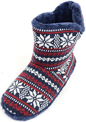 SNUGRUGS Mens Knitted Style Slipper Boots/Booties with Warm Faux Fur Lining - Grey/White - 10 UK