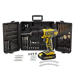 Work Expert Cordless Combi Drill Set, 18V Lithium-Ion Battery, Hammer Action Function, 240 Piece & Carry Case